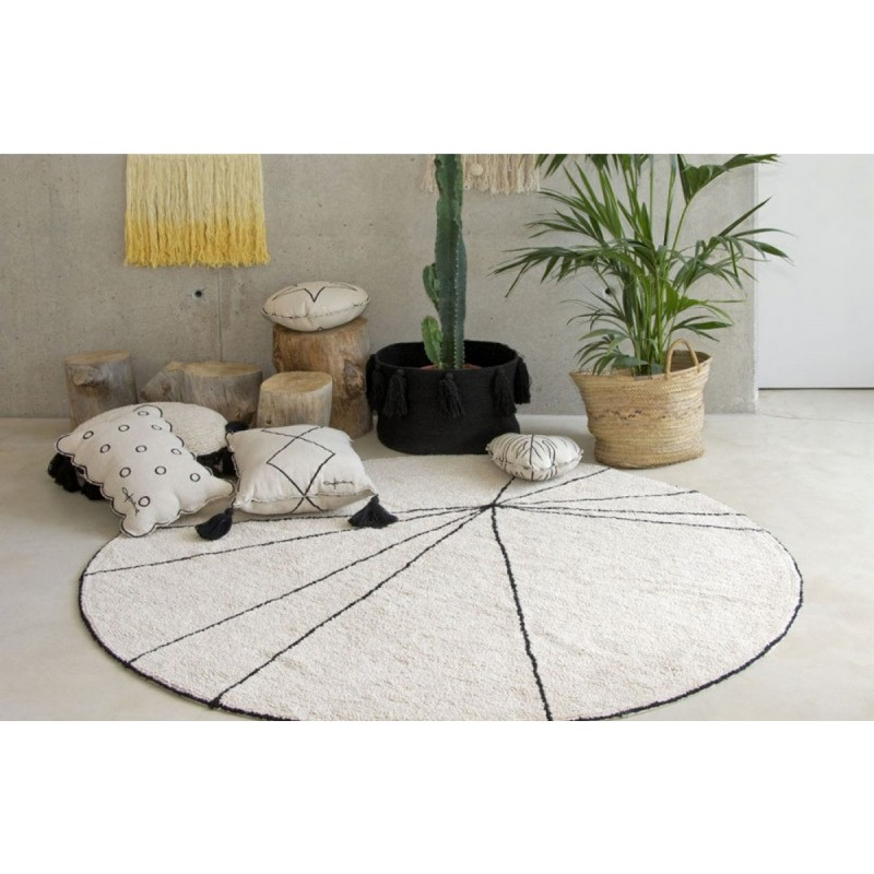 tapis rond coton beige lorena canals trace 160 cm. Black Bedroom Furniture Sets. Home Design Ideas