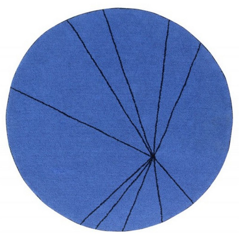 tapis design rond bleu klein lorena canals trace 160 cm. Black Bedroom Furniture Sets. Home Design Ideas