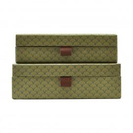Boîtes de rangement décoratives House Doctor Fan vert (set de 2)
