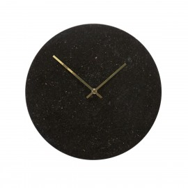 Horloge murale ronde marbre noir Hübsch