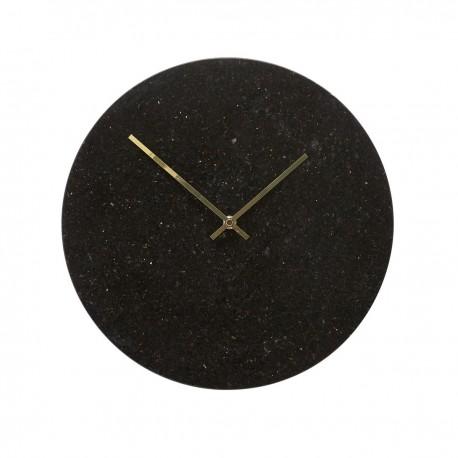 Horloge murale ronde marbre noir Hubsch