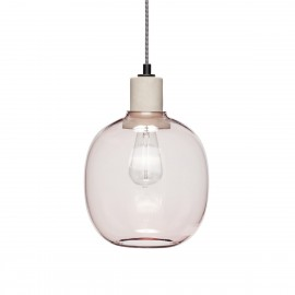 Lampe suspension ovale verre rose Hübsch