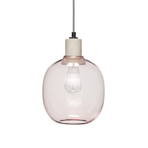 Lampe suspension verre rose Hübsch