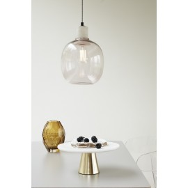 Lampe suspension verre rose Hubsch