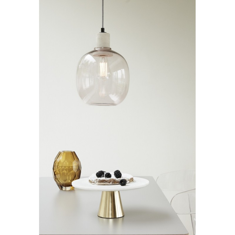 Lampe suspension verre rose hubsch 950413 - Suspension bouteille verre ...