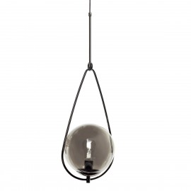 Lampe suspension design boule verre fumé Hübsch