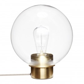 Lampe de table sphere en verre transparent laiton Hubsch