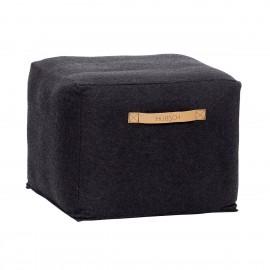 Pouf design carré laine Hübsch noir