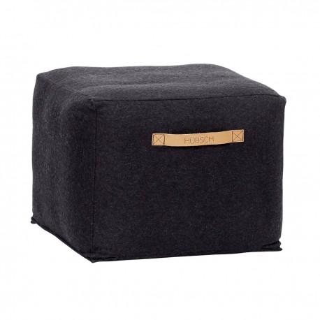 Pouf design carre laine noire Hubsch