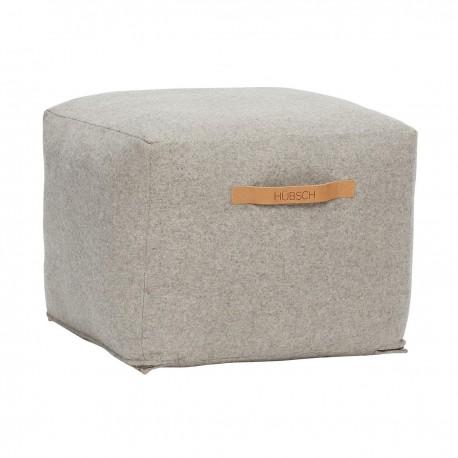 Pouf carre design laine grise Hubsch
