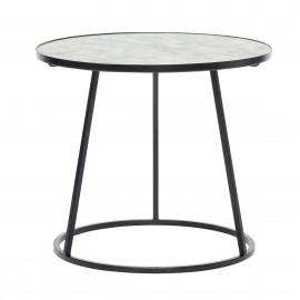 Table basse ronde marbre blanc métal noir Hübsch