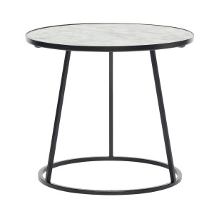 Table basse ronde marbre blanc metal noir Hubsch