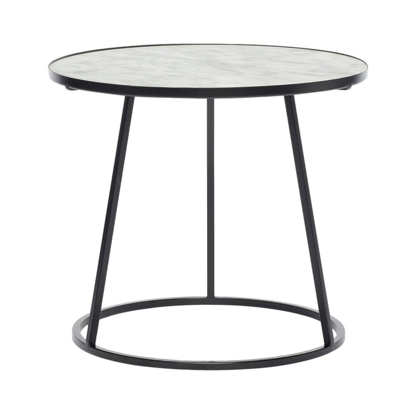 table basse ronde marbre blanc metal noir hubsch 670208. Black Bedroom Furniture Sets. Home Design Ideas
