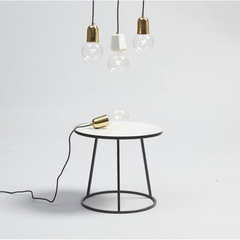 table basse ronde marbre blanc metal noir hubsch 670208. Black Bedroom Furniture Sets. Home Design Ideas