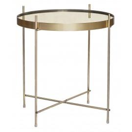Table basse ronde métal doré laiton miroir Hübsch