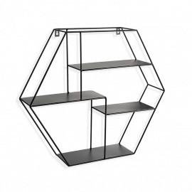 Étagère murale hexagonale métal noir Versa