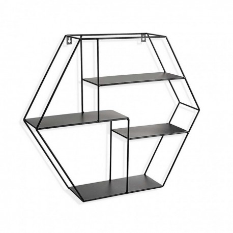 etagere murale hexagonale metal noir versa 20850043. Black Bedroom Furniture Sets. Home Design Ideas