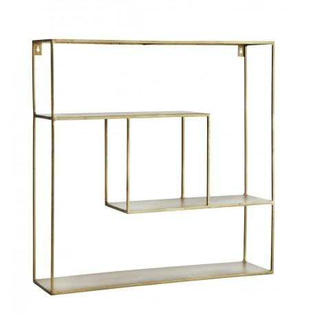 etagere carree metal laiton antique madam stoltz 17196ab. Black Bedroom Furniture Sets. Home Design Ideas