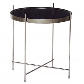 Table basse ronde métal doré miroir noir Hubsch