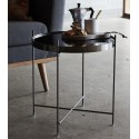 Table basse ronde métal doré miroir Hubsch