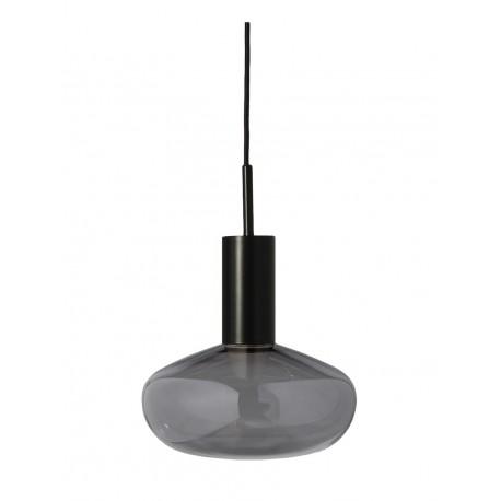 Lampe suspension Gambi Eno Studio verre teinté gris métal noir