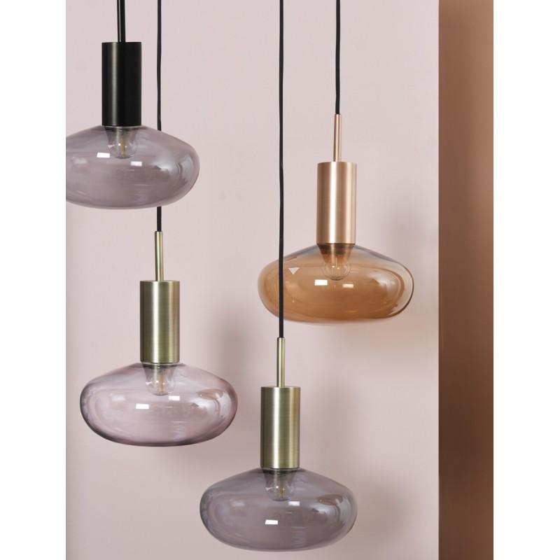 suspension eno studio gambi laiton verre fume gris eno01en006040. Black Bedroom Furniture Sets. Home Design Ideas