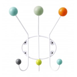 Porte-manteau mural boules multicolores Superliving 3 patères