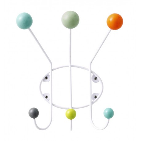 Porte-manteau mural boules multicolores Superliving 3 patères
