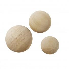 Set de 3 patères rondes en bois de chêne Superliving Punto