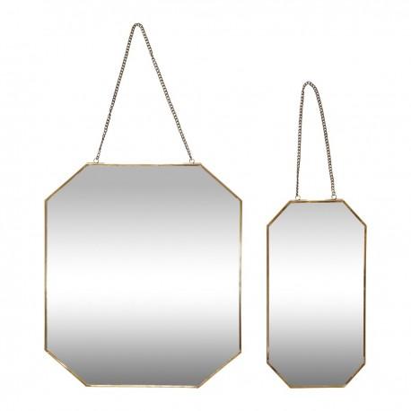 Miroir mural octogonal métal laiton Hübsch (set de 2)