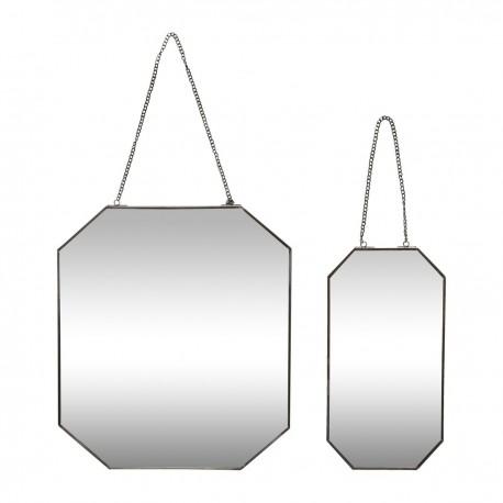 Miroir mural octogonal avec chaîne métal noir Hübsch (set de 2)