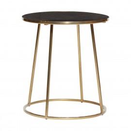 Table basse ronde metal dore marbre noir hubsch