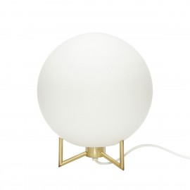Lampe de chevet boule blanche laiton Hübsch 26 cm