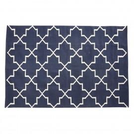 Tapis bleu design coton Hubsch 120 x 180 cm
