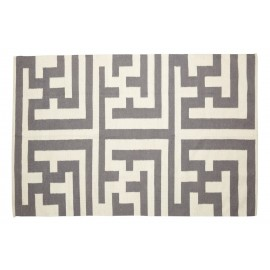 Tapis gris naturel laine Labyrinthe Hubsch 120 x 180 cm