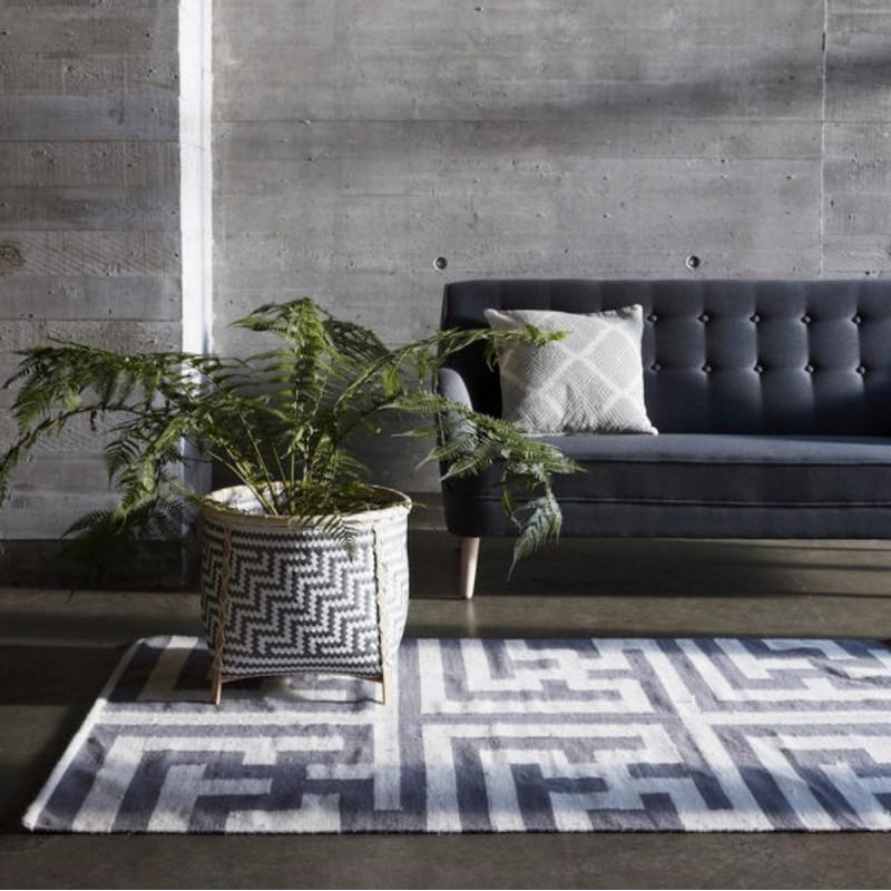 tapis labyrinthe gris naturel laine hubsch 810301. Black Bedroom Furniture Sets. Home Design Ideas