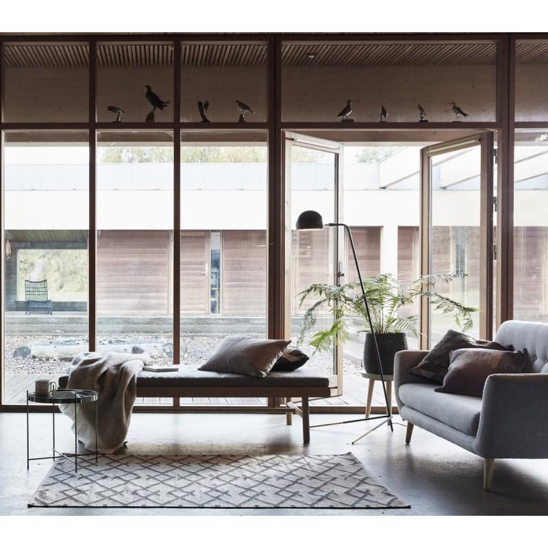 tapis scandinave nordique coton gris naturel hubsch 810305. Black Bedroom Furniture Sets. Home Design Ideas