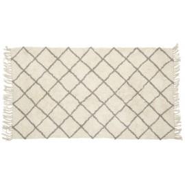 Tapis coton motif géométrique écru gris Hübsch
