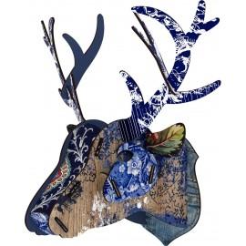 Tête de cerf bleue décoration murale bois Miho Breaking News