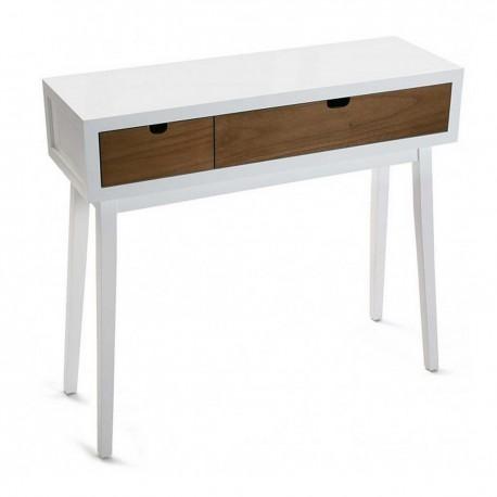 Table console d'entrée blanche bois 2 tiroirs Versa Najac
