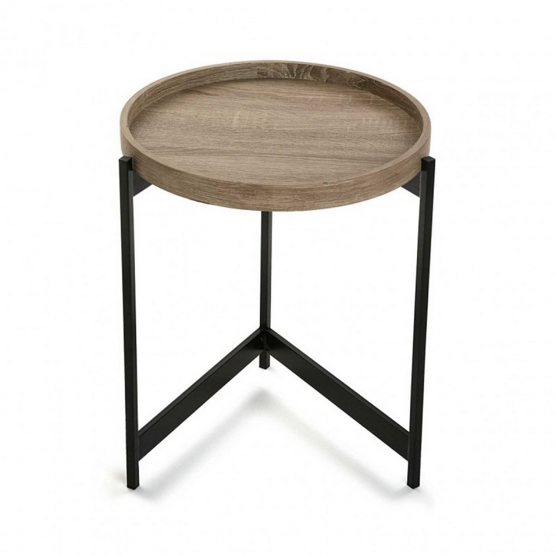 Table basse d appoint ronde plateau bois metal noir versa for Table ronde bois metal