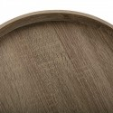 Table basse d'appoint ronde plateau bois métal noir Versa Hennan