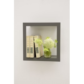Wall design square shelf metal grey presse citron
