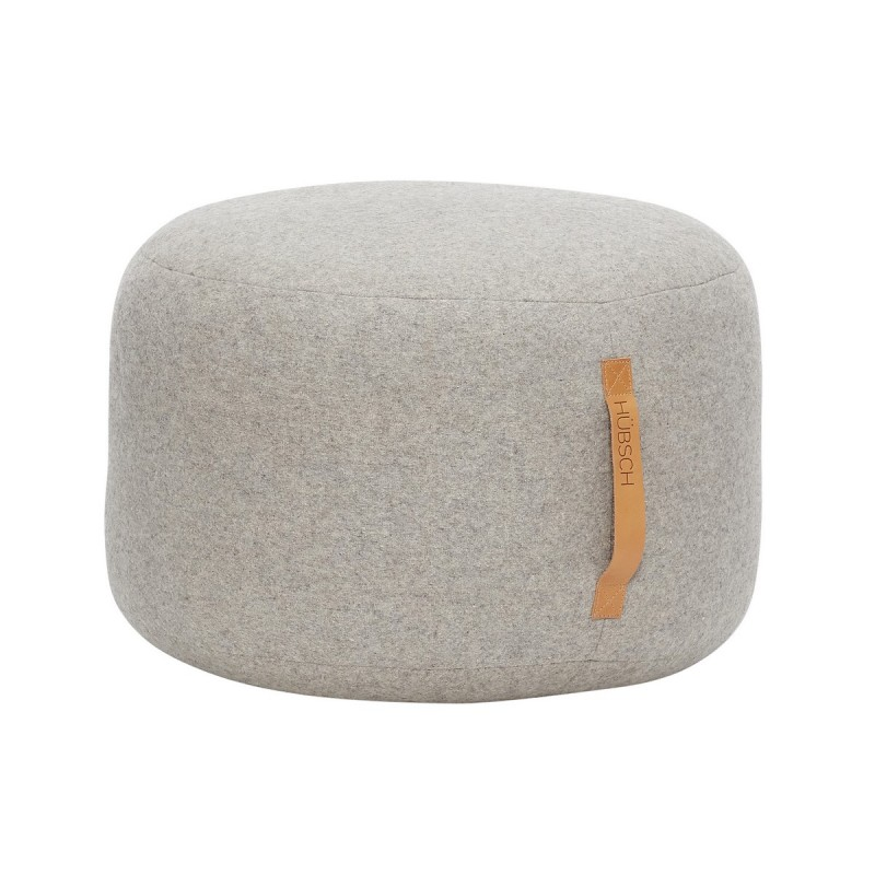 pouf rond gris laine hubsch 700501. Black Bedroom Furniture Sets. Home Design Ideas