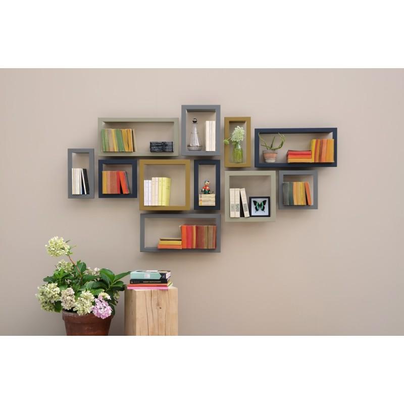etag re murale cadre carr e stick presse citron gris. Black Bedroom Furniture Sets. Home Design Ideas