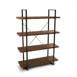 etagere 4 niveaux bois et metal noir versa