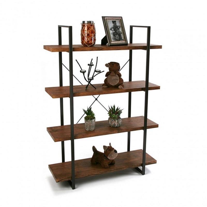 etagere 4 niveaux bois et metal noir versa. Black Bedroom Furniture Sets. Home Design Ideas