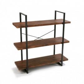 etagere a poser 3 niveaux bois et metal noir versa