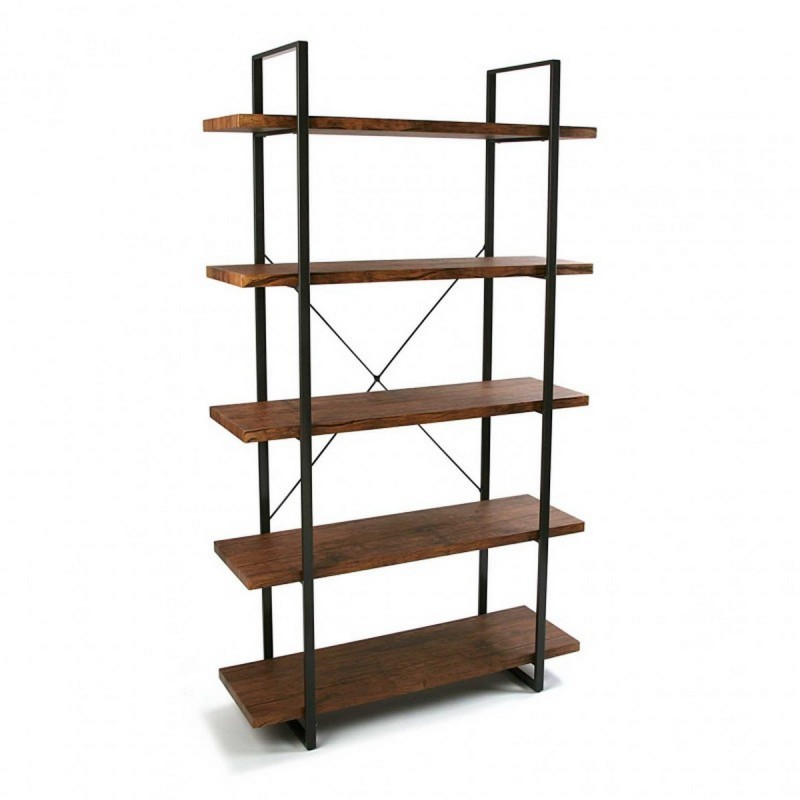 etagere a poser 5 niveaux bois et metal noir versa. Black Bedroom Furniture Sets. Home Design Ideas