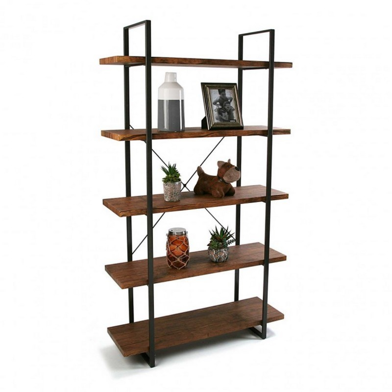etagere a poser 5 niveaux bois et metal noir versa. Black Bedroom Furniture Sets. Home Design Ideas
